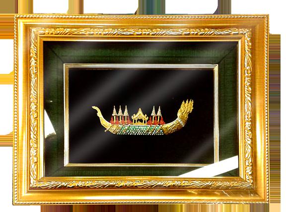 กรอบรูปหลุยส์ประดับเข็มกลัดลายไทยลายเรือสุพรรณหงส์ เหมาะสำหรับเป็นของที่ระลึก ของชำร่วย และเป็นของใช้สำหรับตกแต่งบ้าน