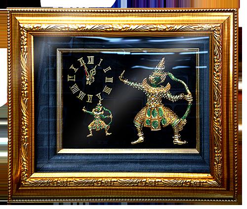 กรอบรูปหลุยส์ผ้าไหมนาฬิกาลายไทยลายยักษ์รามเกียรติ์เหมาะสำหรับเป็นของที่ระลึก ของชำร่วย และเป็นของใช้สำหรับตกแต่งบ้าน