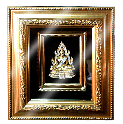 กรอบรูปหลุยส์ผ้าไหมลายกรอบรูปลายไทยลายพระพุทธชินราชเหมาะสำหรับเป็นของที่ระลึก ของชำร่วย และเป็นของใช้สำหรับตกแต่งบ้าน